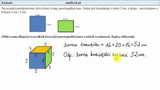 Zadanie 17. Suma długości krawędzi. Egzamin przykładowy ósmoklasisty CKE   MatFiz24.pl