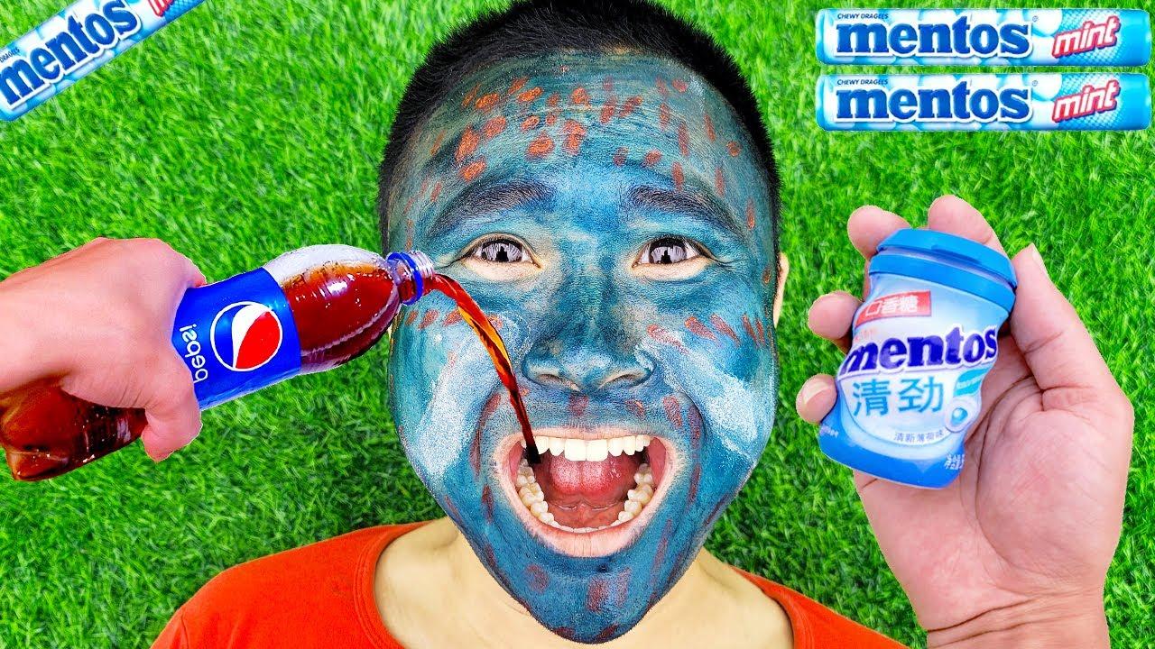 Coca Cola, Different Fanta, Mtn Dew, Pepsi, Sprite and mouth vs Mentos in Big Underground