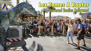 Ariana Richards (Lex from Jurassic Park) Tames a Raptor at Universal Studios Hollywood