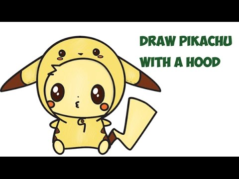 how to draw pikachu with hood cute kawaii chibi from pokemon easy step by step drawing