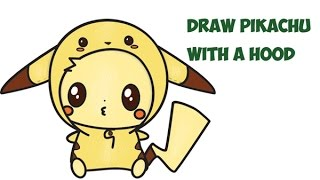 How to Draw Pikachu with Hood (Cute Kawaii Chibi) from Pokemon Easy Step by Step Drawing