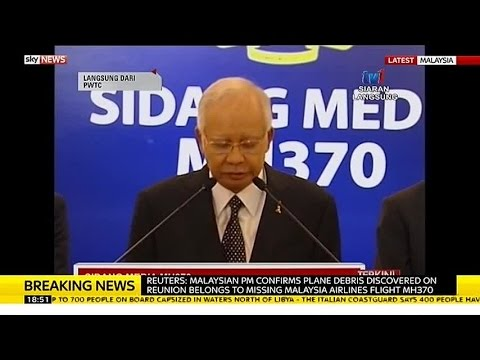 Malaysia PM Confirms Plane Debris Belongs To MH370