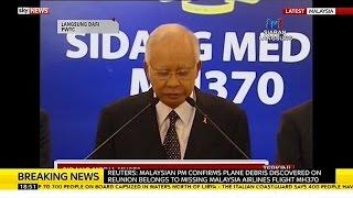 Malaysia PM Confirms Plane Debris Belongs To MH370