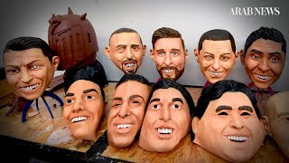 A Mexican workshop makes masks resembling famous World Cup stars
