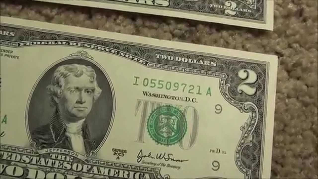 unique serial numbers on consecutive two dollar bills
