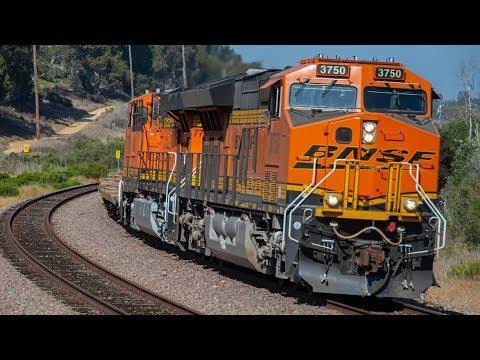 4K - BNSF Freight Train Action around San Diego, CA