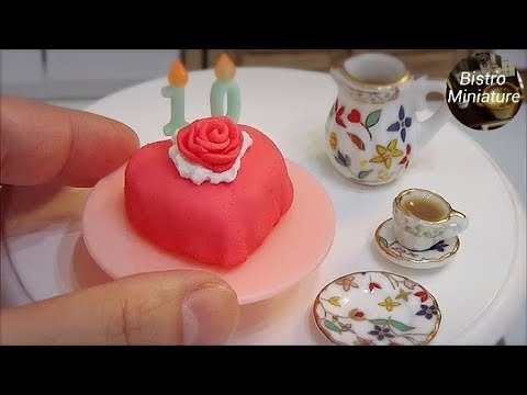 Mini food #124 ミニチュア料理 『ROSE HEART CAKE バラのハートケーキ』How to make Miniature food (edible) Tiny food ASMR