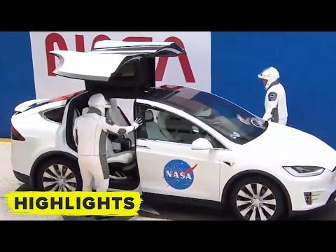 NASA astronauts take Tesla Model X to the launch pad