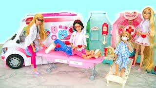 Dolls go to Hospital مستشفى باربي rumah sakit boneka hospitalar boneca Hôpital poupée Krankenwagen