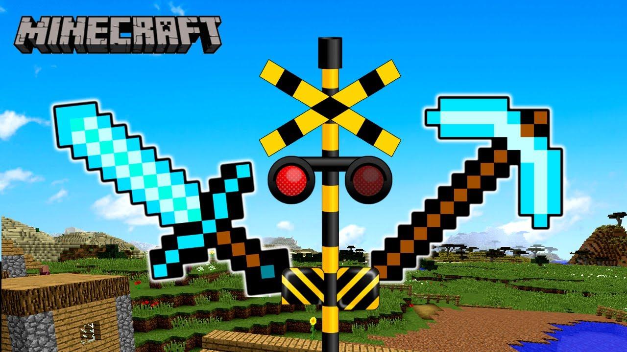 【踏切アニメ】マイクラの世界の中のふみきり / Railroad Crossing & Train Anime for kids - Crossing in Minecraft -
