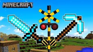 【踏切アニメ】マイクラの世界の中のふみきり / Railroad Crossing \u0026 Train Anime for kids - Crossing in Minecraft -
