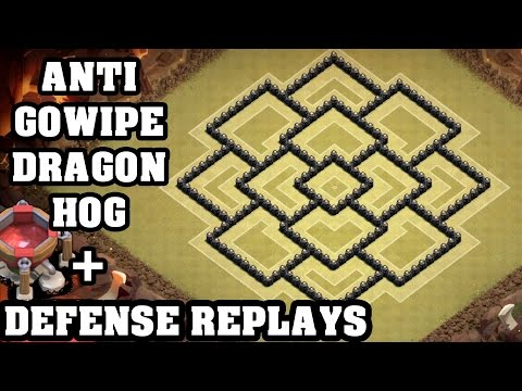 Clash of Clans - Town hall 8 (Th8) War Base + Defense REPLAY - ANTi GoWipe ANTi Dragon ANTi Hog
