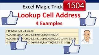 Excel Magic Trick 1504: Lookup Cell Address: 4 Examples: MATCH, ADDRESS, CELL function?