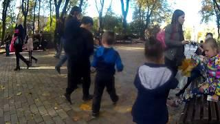 Touristrs, Girls, Kids,  Parents at Shevchenko Park in Kiev, Ukraine