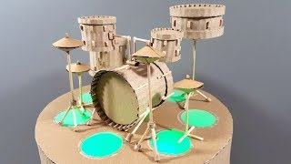 How To Make A Miniature Drum Kit From Cardboard With Colored Lighted Stage | DIY