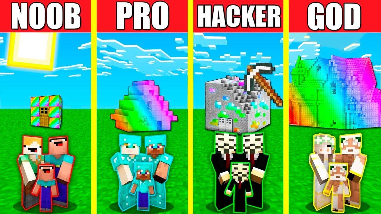 Minecraft Battle: RAINBOW HOUSE BUILD CHALLENGE - NOOB vs PRO vs HACKER vs GOD / Animation SPECTRITE