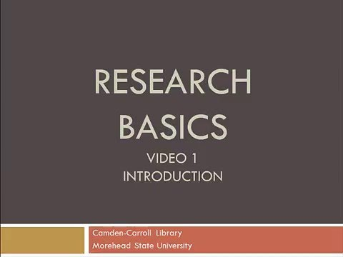 Research Basics- Video 1- Introduction to the Academic Research Process
