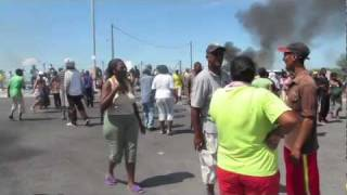 Residents of the volatile temporary relocation settlement in Cape Town have been protesting about their living conditions.