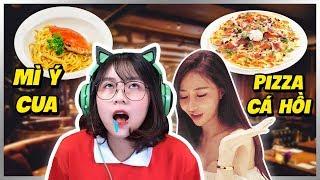 Misthy và chị gái ăn Pizza cá hồi, Mì Ý Cua sang chảnh || WHAT THE FOOD