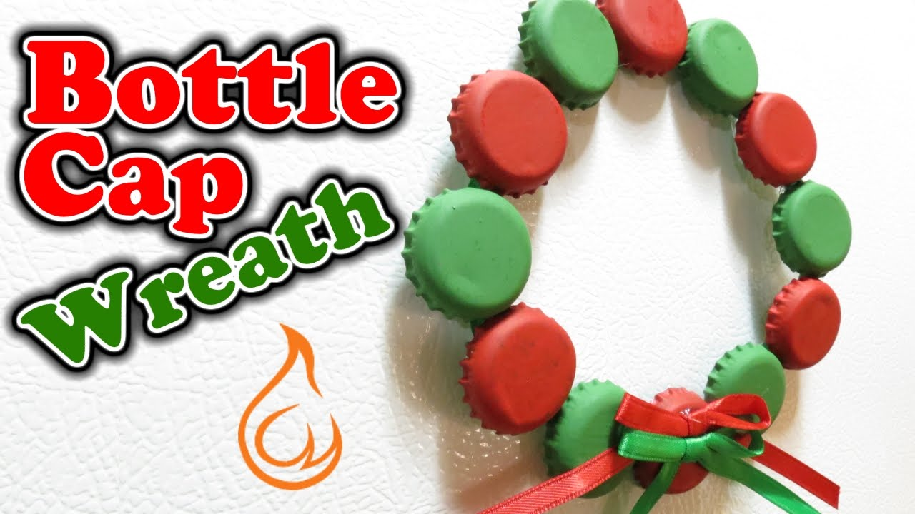 Bottle cap wreath fun craft for christmas youtube for What can i make with beer bottle caps