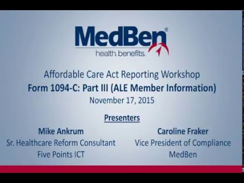 ACA Reporting Workshop – IRS Form 1094-C Part III - YouTube