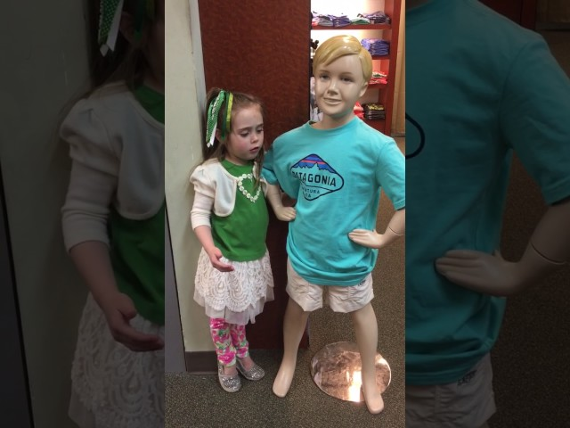 Wait until you see the ending! Adorable 4 year old girl kisses boy mannequin!