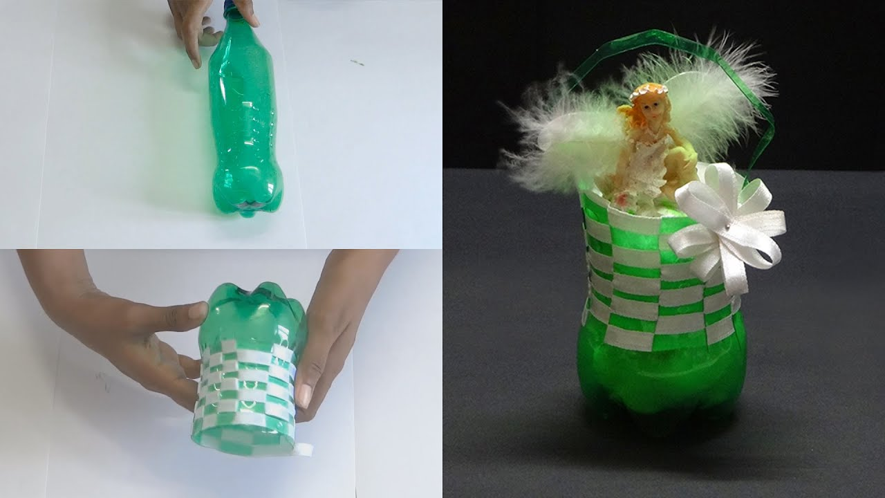 Diy crafts beautiful basket with cool drink bottle youtube for Waste material craft work with bottles