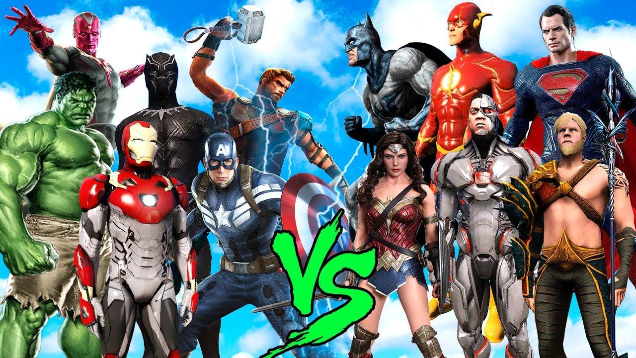 Download JUSTICE LEAGUE vs AVENGERS (SUPERMAN, FLASH, CYBORG vs HULK, THOR, IRON MAN, VISION) - EPIC BATTLE