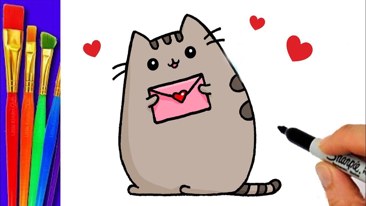 Como dibujar y colorea a PUSHEEN el gato de FACEBOOK- dibujos para ...