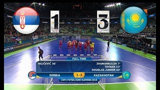 Сербия - Казахстан. Futsal. 1/4 Финала EURO. Highlight in HD