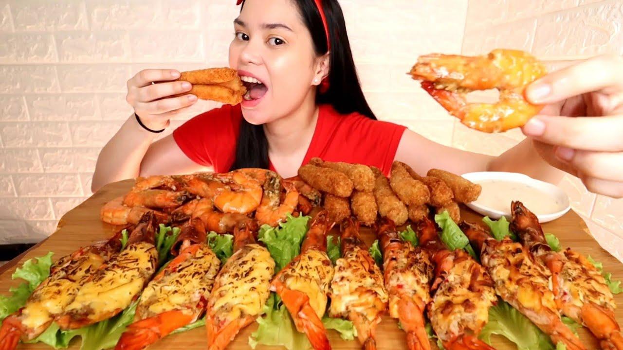 Download HIPON MUKBANG   crunchy tempura, shrimp thermidor and buttered garlic shrimp