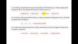 exercice 1 : moteur asynchrone triphasé (QCM)
