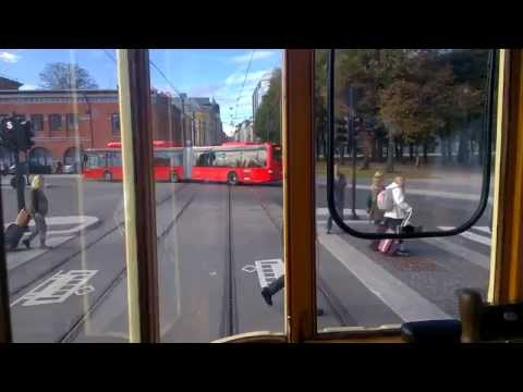 A ride with a 102 year old tram in Oslo (drivers view)