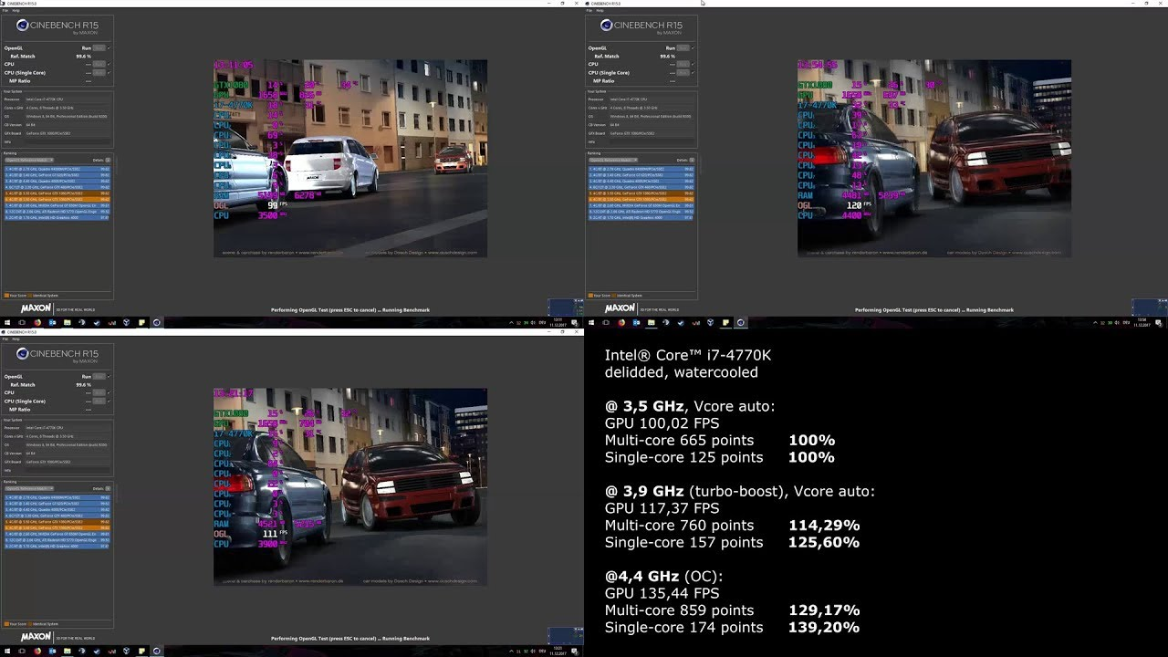 Overclock comparison - i7-4770K - Cinebench R15
