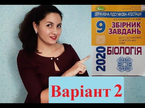 ДПА з біології 2020р. Варіант 2 (О.В. Костильов, С.М. Міюс)