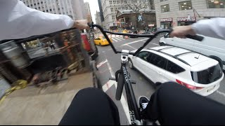 GoPro BMX Bike Riding in NYC 3(Part 3 of the GoPro POV Bike riding in NYC series featuring BMX riders Billy Perry, Anthony Panza, and Nick Jones. Weaving through heavy traffic, skitching ..., 2015-12-27T17:00:21.000Z)