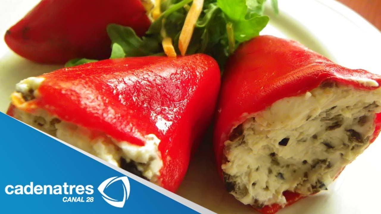 Receta para preparar pimientos rojos rellenos de queso de - Como hacer mermelada de pimientos ...