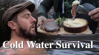 Bushcraft Cooking: Steak & Three Cheese Sauce After A Freezing Cold Plunge | Cold Water Survival