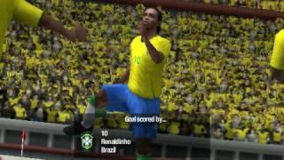 PSP FIFA 09 Gameplay Brasil VS Argentina HQ Beautiful Goals!!
