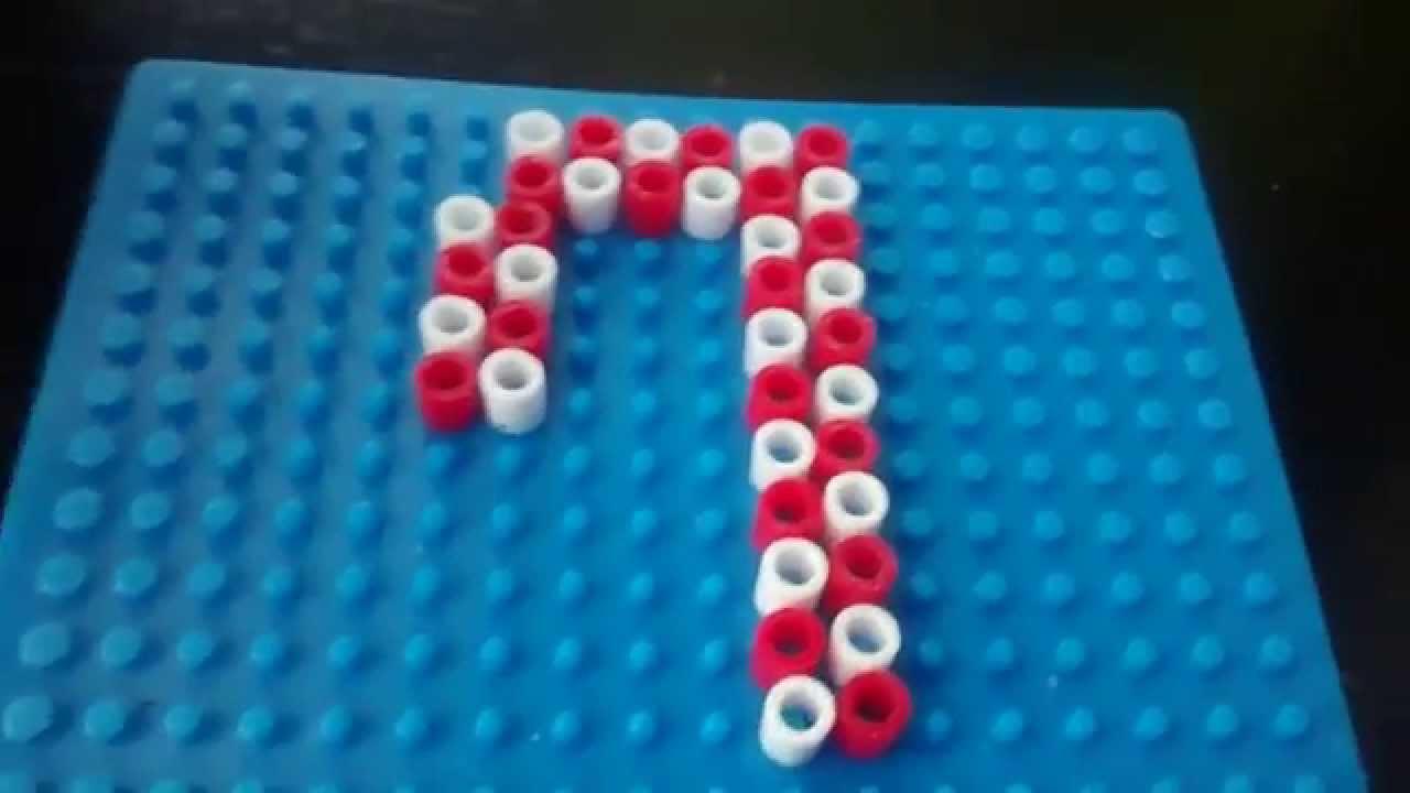 Bastón de caramelo de hama beads - YouTube