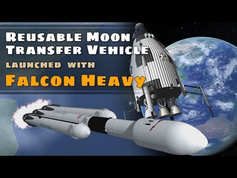 SpaceX Falcon Heavy launches Reusable Moon Transfer Vehicle to the Moons Surface (KSP 1.2.2)