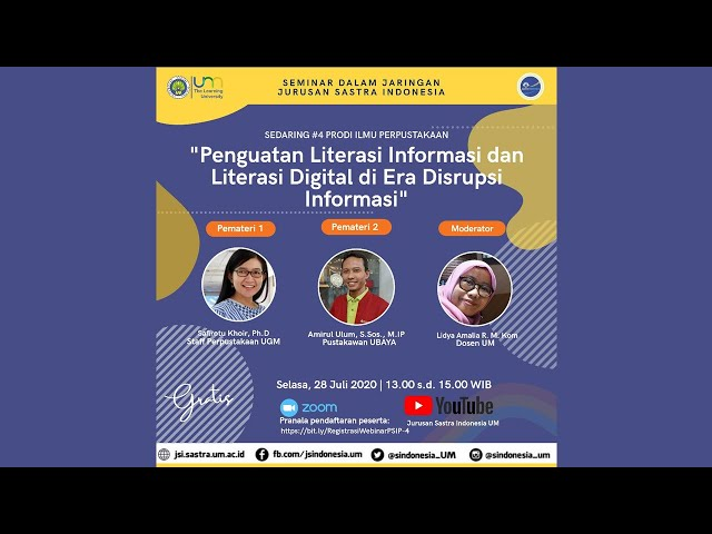 Sedaring #4 Program Studi Ilmu Perpustakaan Jurusan Sastra Indonesia UM