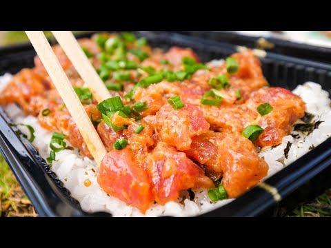 Food in Hawaii POKE BOWLS and Seafood at Tanioka's in Waipahu, Hawaii!