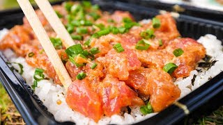 Food in Hawaii - POKE BOWLS and Seafood at Tanioka's in Waipahu, Hawaii!