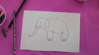 Tek Hareketle Basit Fil Çizimi   Basic Elephant Draw   Basit Hayvan Çizimi   Animal Draw