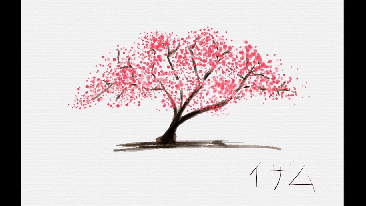 Blossom Tree Drawing: Watercolor Digital Painting Of The Sakura Tree. Tayasui