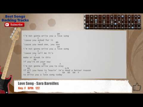 Love Song - Sara Bareilles Bass Backing Track with chords and lyrics