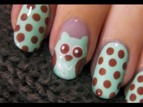 Cute Owl Nail Art - Cute Owl Nail Art - YouTube