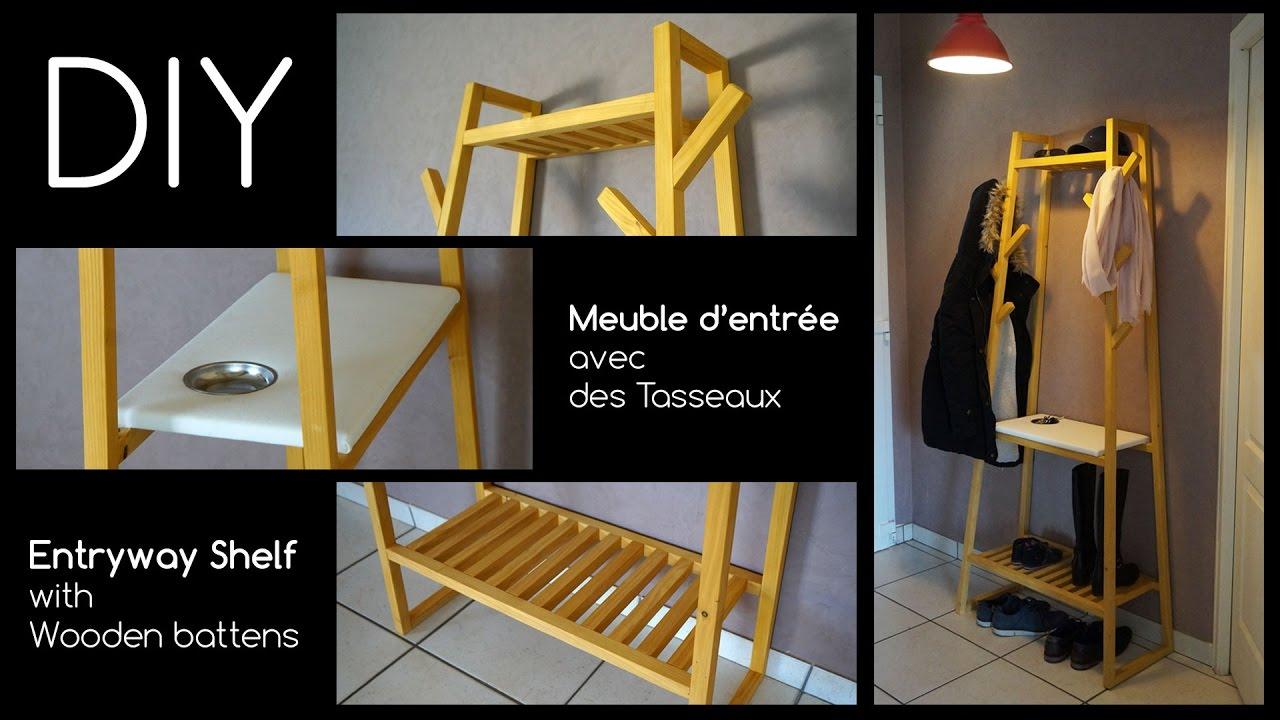 Faire Une Cloison Avec Des Tasseaux diy │ meuble d'entrée en tasseau │ entryway shelf with wooden battens