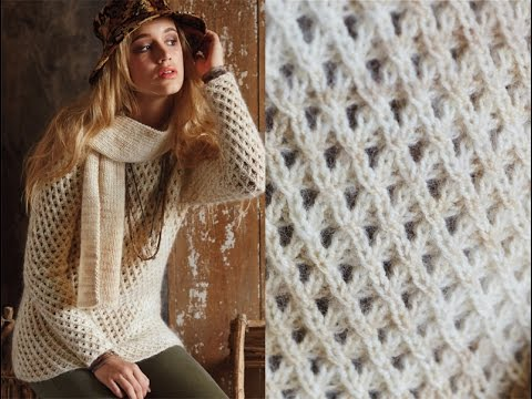 13 Mesh Sweater And Ribbed Scarf Vogue Knitting Fall 2014 Youtube